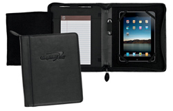 black leather iPad jacket with note pad