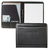 black leather writing pad folder with outside document pocket