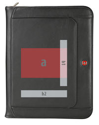 imprint views for personalization (b) and customized die (a) of black leather zippered padfolio