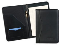 padded and stitched black leather junior pad holder