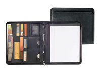 black pebble grained leather zippered pad holder
